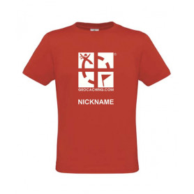 Groundspeak Logo, T-Shirt mit Name (rot)