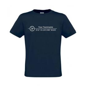 Logo + Koordinaten, T-Shirt (blauw)