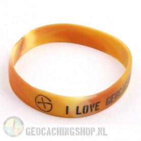 Wristband - I Love Geocaching camo brown