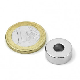 1pc 15 mm Round x 5 mm with 6 mm hole Neodym Magnet