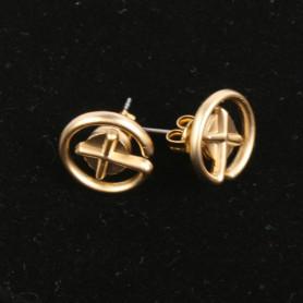 Geocaching - Oorbellen - knopje - satin goud