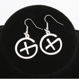 Geocaching - Earrings - pendant - satin silver