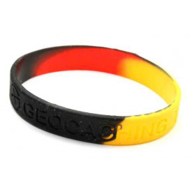Wristband - Geocaching, this is our world - Schwarz, Gelb und Ro