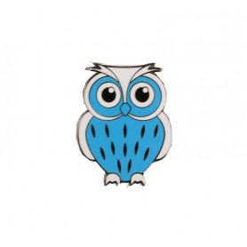 Baby Owl Geocoin - Baby Blue-White