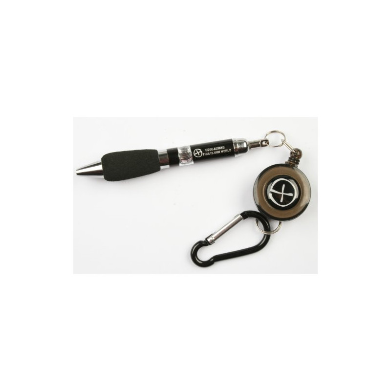 Pen, retractable with carabiner, black