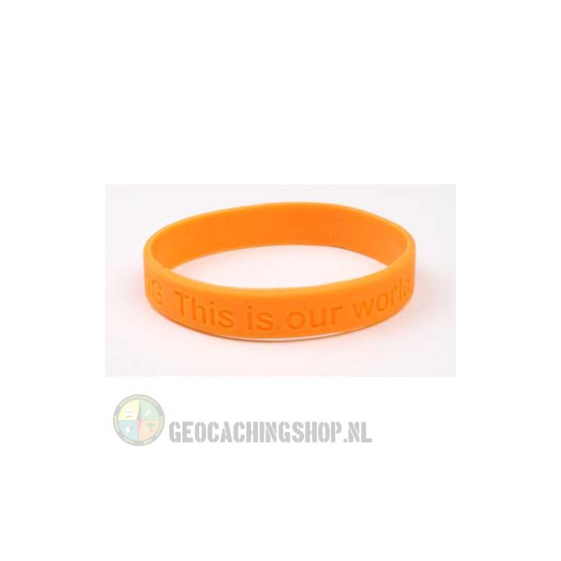 Armband - Geocaching, this is our world - oranje