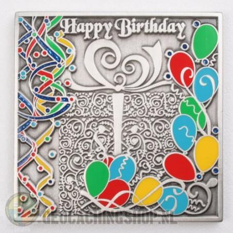 Happy Birthday Geocoin - antiek zilver