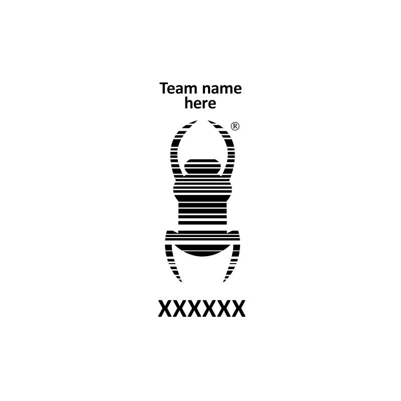 Travel bug Stamp - Pocket 14 x 38 - Own teamname