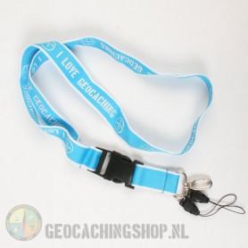 Keycord I Love Geocaching - Lichtblauw