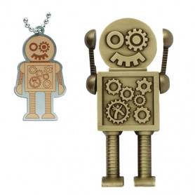 Mega Steampunk Robot antique bronze with traveltag