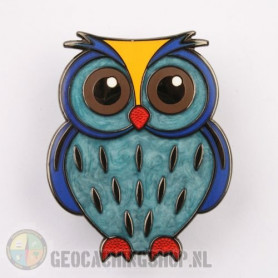 Owl Geocoin - Ocean-Blue