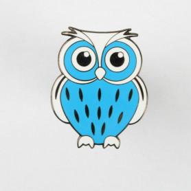 Owl Geocoin - Blau-Weiss