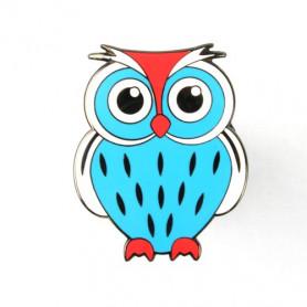 Owl Geocoin - Papa Blau-Weiss