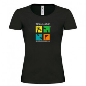 Groundspeak Logo Girlie T-shirt mit Name (farbig)