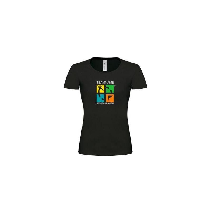 Groundspeak Logo Girlie T-shirt mit Name (farbig)
