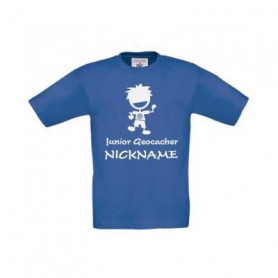 Junior Geocacher Kinder T-shirt mit name (blau)