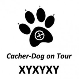 Cacher-Dog trackable sticker
