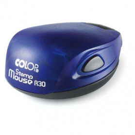 Log stamp - Mouse - 30 mm circle - Own text/logo
