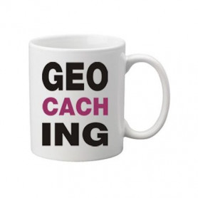 Kaffee + Teebecher: Geocaching letters Pink