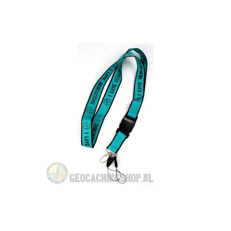 Lanyard I Love Geocaching - Aquablue