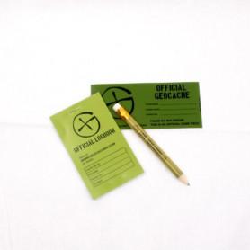 Cache container logboek-sticker-potlood